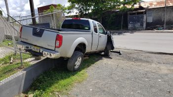 The scene of the lone vehicle accident at Baughers Bay, Tortola on August 11, 2019. Photo: VINO