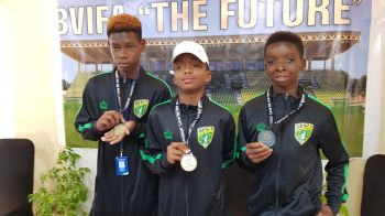 Three of the players of the National Under 15 team that won the 2019 CONCACAF Division 3 Championships in Florida on Saturday, August 10, 2019. From left: Gerald Fredericks, Azarni Callwood and Ryan Lettsome. Photo: VINO