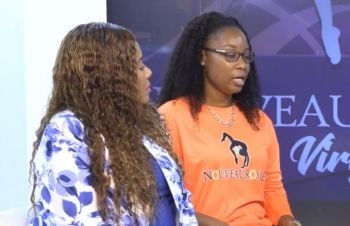 From left: Junior Minister for Tourism Honourable Shereen D. Flax-Charles (AL) and co-founder of dance ensemble, Nouveau Royale, Lakisha T. Claxton during an interview on JTV on September 16, 2019. Photo: Team of Reporters