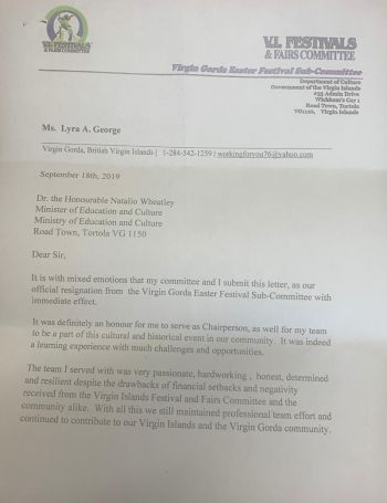The resignation letter by the Virgin Gorda Easter Festival Sub-Committee was addressed to the Minister responsible for Education and Culture, Dr the Hon Natalio D. Wheatley. Photo: Team of Reporters