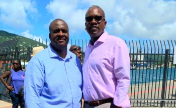 US Virgin Islands Governor Albert A. Bryan Jr (D), right, and Virgin Islands Premier, Honourable Andrew A. Fahie (R1) at the 46th annual USVI/BVI Friendship Day in St Thomas, US Virgin Islands on Saturday, October 19, 2019 . Photo: Team of Reporters