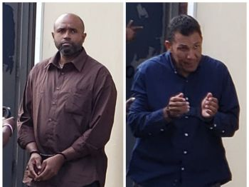 Venezuelans Wilteredo Lopez Vargas, left, and Hover Morillo Ybarbia, right, were charged for the importation of 309 kilograms of a controlled drug, cocaine and illegal entry to the Virgin Islands. They were remanded to prison. Photo: VINO