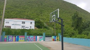 The rim for this backboard at the West End Basketball Court was removed. Photo: VINO