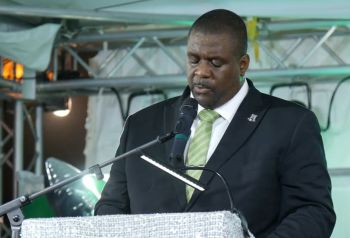 Premier and Minister of Finance, Honourable Andrew A. Fahie (R1) giving his annual First District Report at the Cappoons Bay Recreation Grounds on Saturday, January 11, 2020. Photo: VINO