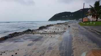 Rocks thrown on the road at Carrot Bay today, January 20, 2020 due to the high sea swells. Photo: VINO