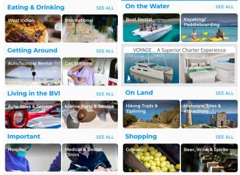 The BVI Now app has a variety of categories to choose from, depending on your interests. Photo: VINO