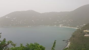 The usually picturesque Cane Garden Bay was hardly visible from Stoutt's Lookout on June 23, 2020, owing to Saharan dust. Photo: VINO
