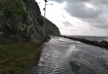 Water lodged on the road at Cox Heath due to rains and high sea waves brought on by Potential Tropical Cyclone 9. Photo: VINO