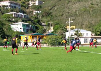 Chadwick Evans and Rickson Augustin scored in each half as One Caribbean FC (blue & red) cemented themselves into 5th place, beating last weekend's Festival Cup losing finalists, Lion Heart FC 2-0 at the National Stadium in east End on Sunday, August 9, 2020. Photo: Team of Reporters