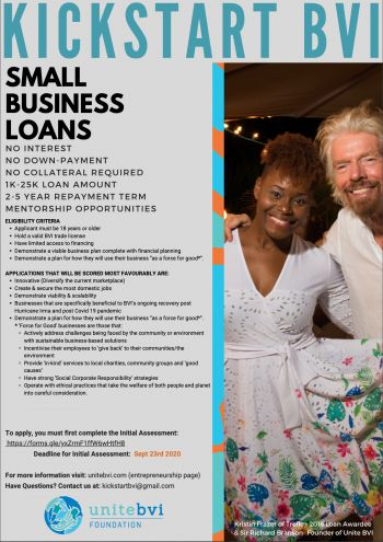 Applications for the Unite BVI Kickstart Small Business Loan Programme are now open to entrepreneurs planning to start a business, or to expand an already existing business that is going to have positive impact on the environment or our communities. Photo: Unite BVI