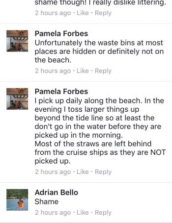 Some of the discourse on social media about garbage being left on the beach. Photo: Facebook