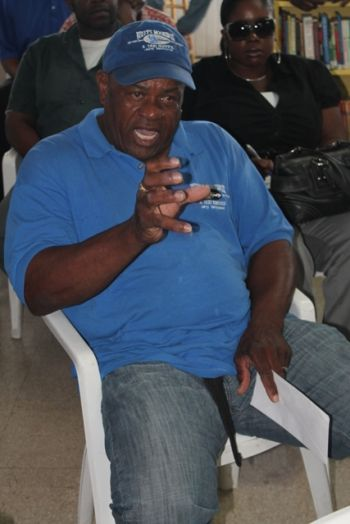 A resident of Anegada making a passionate point at the meeting on February 8, 2013. Photo: VINO