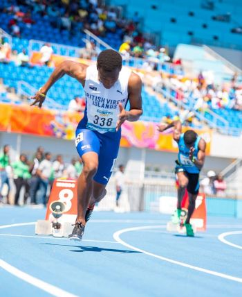 Virgin Islands' Joshua Hill also featured in the 200m heats for Under 20 Boys, finishing fourth in a non-advancing time of 21.85. Photo: Cleave M. Farrington/BVIAA