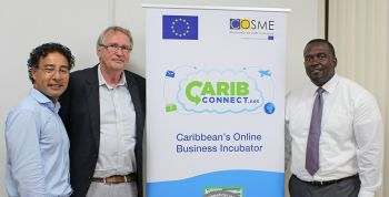 Junior Minister for Trade, Investment Promotion and Consumer Affairs, Honourable Marlon Penn; Developer of CaribConnect and COSME Consultant, Leslie Abell and COSME Team Leader, Huib Poot featured at the launch of the online business incubator, CaribConnect.net. Photo: GIS