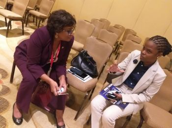 During the Conference, Hon De Castro also met with the Minister of Public Telecommunications for the Co-operative Republic of Guyana, Honourable Catherine Hughes. The two leaders had a one-on-one discussion on the role of young persons in leadership and the need for Caribbean leaders to work together in promoting the Caribbean as one. Photo: Provided
