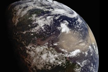 An expansive plume of dust from the Sahara traveled westward across the Atlantic Ocean on Saturday, June 20, 2020. The dust has reached the Caribbean and is expected to reach parts of the United States later this week. Photo: NOAA