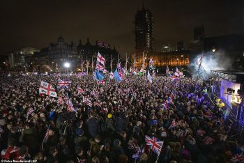 Jubilant Brexiteers heralded the moment with celebrations across the country, including a flagship bash in London's Parliament Square on January 31, 2020. Photo: Daily Mail