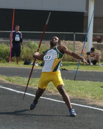 Omar A. Jones, seen here competing in the 2011 NJCAA Nationals Championship open Javelin, an event he won. Photo: Facebook