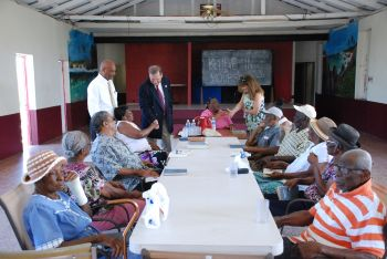 Governor John S. Duncan and his wife Mrs Duncan called on the Virgin Gorda seniors while on a visit of the Sister Islands. Photo: GIS