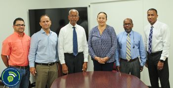 Mr. Javier Rivera and Dr. Juan C. Virella Crespo, Virella Crespo & Associates; Premier and Minister of Finance, Dr. the Honourable D. Orlando Smith, OBE; Director of Disaster Management, Ms. Sharleen DaBreo, MBE; Financial Secretary, Mr. Glenroy Forbes and Director of Projects, Dr. Drexel Glasgow. Photo:GIS