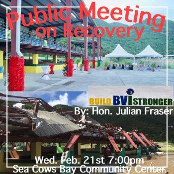 The meeting, according to Hon Julian Fraser RA (R3) is to allow persons to learn the facts and figures in the Government's Recovery and Development Plan. Photo: Facebook