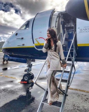 Miss World 2017, Manushi Chhillar stepping out of the plane as she visits the Virgin Islands (VI) for the first time. Photo: Provided