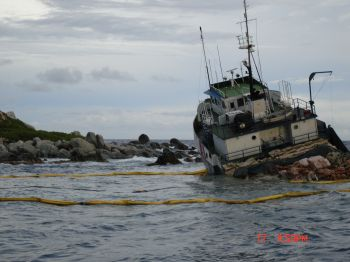 The impact caused significant damage to the vessel, and the captain and crew had to be rescued. Photo: GIS