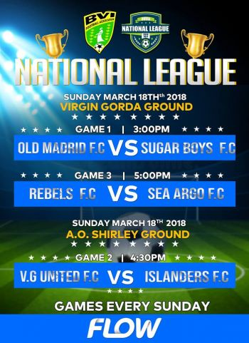 Play in the BVI Football Association's Senior National League continues today, March 18, 2018 with 3 games. Photo: Facebook
