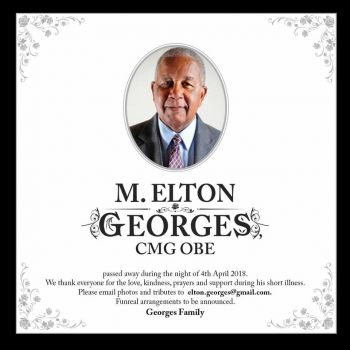 Family members have confirmed the passing of Mr M. Elton Georges CMG, OBE. Photo: Team of Reporters