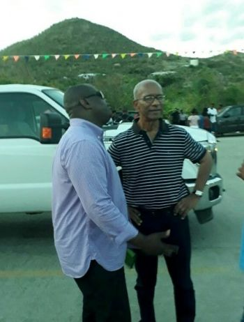 Political candidate Mr Julian Willock, left, with Premier and Minister of Finance Dr The Honourable D. Orlando Smith (AL) at the Beach Picnic and Family Fun Day on Monday April 2, 2018. Photo: Team of Reporters