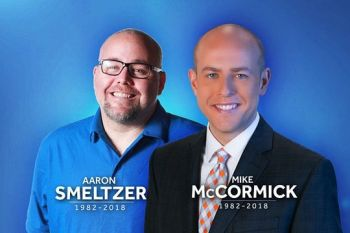 Photojournalist ,Aaron Smeltzer and News anchor Mike McCormick of NBC affiliate WYFF of Greenville, South Carolina were killed when a tree fell on their vehicle while providing media coverage on the storm. Photo: NBC