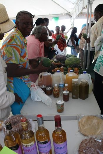 A long line of the local produce that dominated the Farmers' Week exhibition at Jost Van Dyke. Photo: VINO