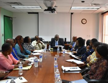 Minister for Health and Social Development, Honourable Carvin Malone engaged a multi-stakeholder meeting to review the Housing Recovery Assistance Programme in April 2019. Photo: Adrianna Soverall/MHSD