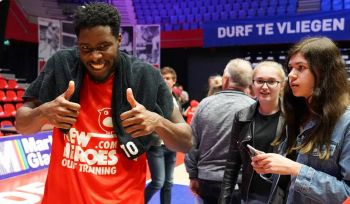 Norville S. Carey had 13 points and 4 rebounds for New Heroes, who totalled 78 as against 86 by home team Landstede. Photo: Facebook