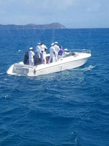 The body of Captain Edwin A. George aka Speedy/Kiddo being taken to Virgin Gorda for his funeral and burial on April 14, 2018. Photo: Team of Reporters