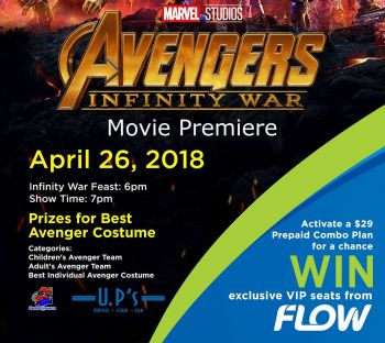 Telecommunication provider, Flow will be hosting a costume competition at the premiere of the movie Avengers: Infinity War. Photo: Facebook