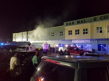 Sometime after 6:00 P.M. on Saturday, April 14, 2018, sections of the R & R Malone Complex in Pockwood Pond caught on fire. Photo: Facebook