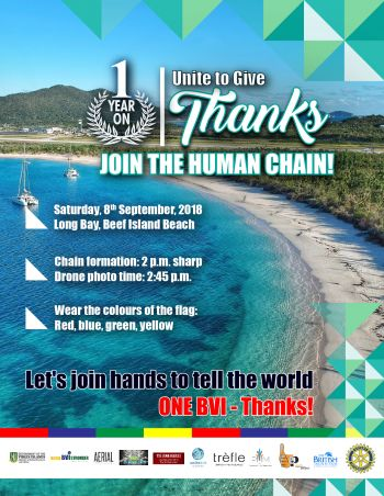The chain will spell out the message 'OneBVI - Thanks' and is an initiative by the Ministry of Natural Resources and Labour in collaboration with the BVI Tourist Board. Photo: GIS