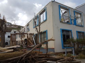 Nearly six months after Hurricane Irma destroyed the Police Headquarters in the Virgin Islands, the building has not yet been restored. Photo: VINO/File