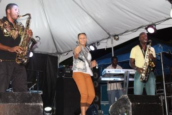 Thea Cooke had performed on the same stage as her idol during the Bayside Rhythms June 8, 2013 concert which was held at Captain Mulligan's, Nanny Cay, Virgin Islands. She did one of her pieces backed-up by Kamau Georges and Dalan Vanterpool. Photo: VINO/file