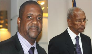 An opinion poll conducted by the Barbados based Caribbean Development Research Service Inc., (CADRES) has showed that Premier and Minister of Finance Dr The Honourable D. Orlando Smith (AL), right, is in a statistical dead heat with Leader of the Opposition and Chairman of the Virgin Islands Party Hon Andrew A. Fahie (R1), left, as the Territory's preferred Leader. Photo: VINO/File