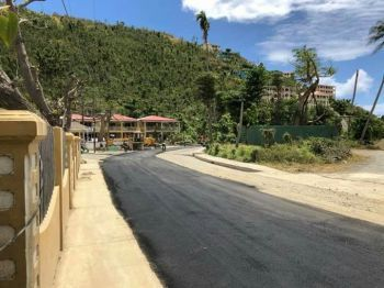 The dusty road at Sea Cows Bay, Tortola was recently paved following hurricane Irma that destroyed the road infrastructure throughout the territory. Photo: Team of Reporters