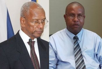 Premier Dr The Honourable D. Orlando Smith (AL), left, had ordered his [Acting] Chief Immigration Officer, Ian B. Penn, right, to 'cease and desist' from sending skilled expatriates home unless they have committed a crime. Photo: VINO/File