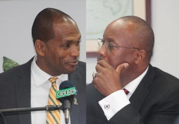 Minister for Communications and Works Honourable Mark H. Vanterpool (R4) and current Managing Director of the BVI Ports Authority Claude O. Skelton-Cline are at the centre of the Ports Project Controversy. A report about the project authored by the Auditor General Ms. Sonia M. Webster will be made public on 22, July 2014. Photo: VINO/File