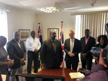 The Premier is now in meeting to choose his Cabinet. He was sown in by Governor Augustus J. U Jaspert, as Deputy Governor David D. Archer Jr was on hand. Photo: Team of Reporters