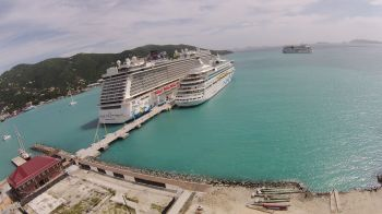 Since the enhancement of the cruise pier, November 18, 2015 was the first time that the Virgin Islands had berthed three ships at the pier. Photo: Tortola Pier Park Ltd