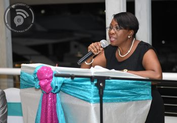Chairperson of the Recognition Committee, Mrs. Noreen Callwood –Lewis addressing the 2018 Retirees. Photo: Ronnielle Frazer/GIS