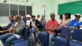 Residents of Cane Garden Bay at the community meeting at the Ivan Dawson Primary School on Monday, February 10, 2020. Photo: VINO