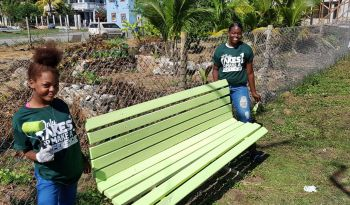 Students from the Elmore Stoutt High School (ESHS) and the Virgin Islands School of Technical Studies (VISTS) used the opportunity presented by the BVI Basketball Federation to build on their community service hours. Photo: BVIBF