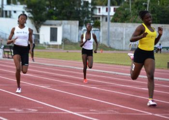 Nelda Huggins (right), is one of the VI's medal hopefuls in the 100 and 200 metres at the Carifta Games in the Bahamas. Photo: Charlie E. Jackson/VINO